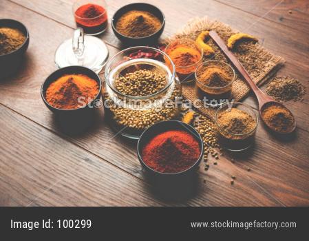 red chilli, turmeric, coriander and cumin powder