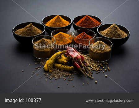 red chilli, turmeric, coriander and cumin powder
