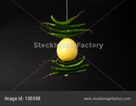 Nazar battu Lemon Chilies or Nimbu Mirchi hanging