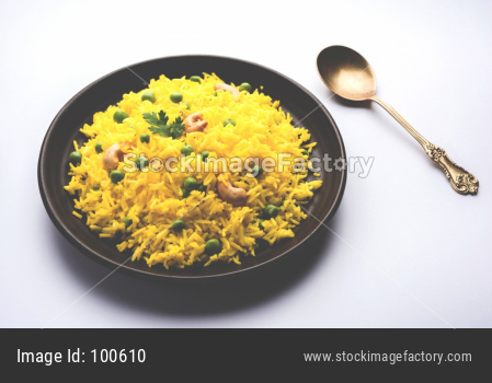 yellow veg biryani / green peas pulav / pilaf