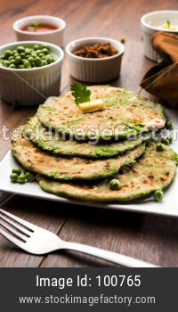 Green peas stuffed paratha or matar ka paratha