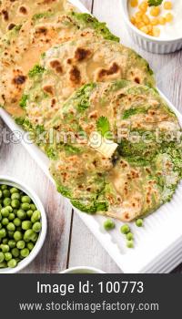 Green peas stuffed paratha or matar ka paratha