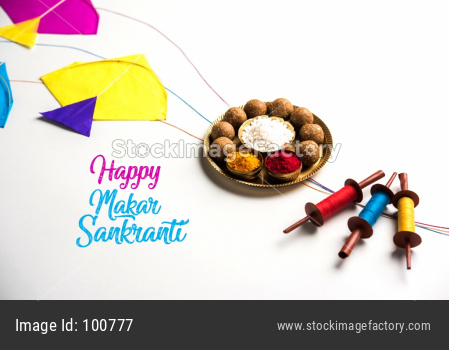 Happy Makar Sankranti - tilgul, patang or kite with haldi kumkum