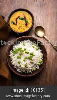 Green peas Basmati rice or matar pulav with plain dal