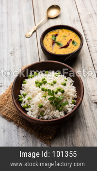 Green peas Basmati rice or matar pulav with plain dal