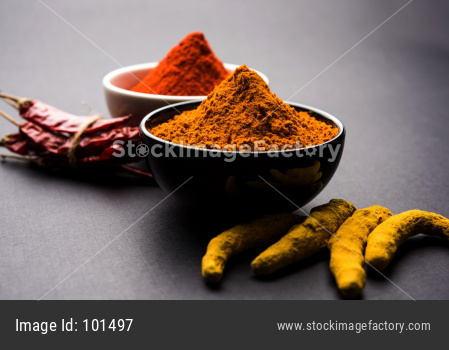 Turmeric and red chilli powder