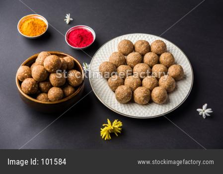 Til Gul OR Sesame Laddu with haldi Kumkum for Makar Sankranti
