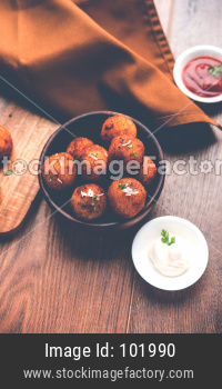 Fried potato cheese balls or croquettes