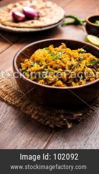 Zunka Bhakar Pithla or pitla, popular vegetarian recipe from India