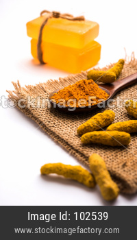Turmeric essential oil with soap and raw Haldi sticks and powder in a wooden spoon