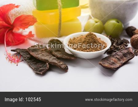 Indian Ayurvedic Handmade Bath Soaps with Herbs like shikakai, reetha, amla, lemon, basil and hibiscus