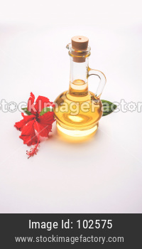 Jaswand or Hibiscus oil over white background, selective focus