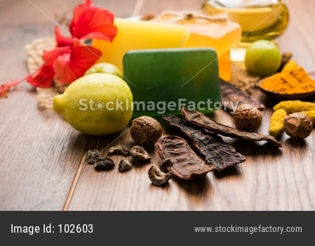 Indian Ayurvedic Handmade Bath Soaps with Herbs like shikakai, reetha, amla, lemon, basil and hibiscus