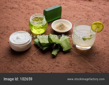 Aloe vera juice, gel, beauty cream or moisturiser, soap and powder
