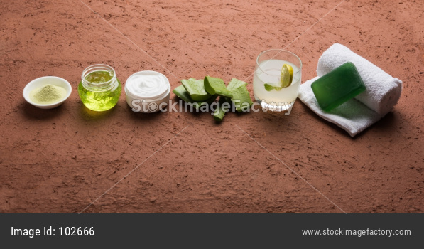 Aloe vera juice, gel, beauty cream or moisturiser, soap and powder