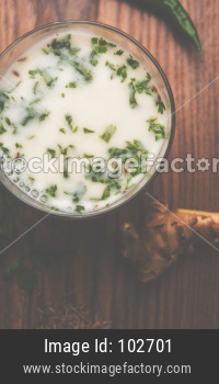 Spiced buttermilk, Chaas,  Taak or curd drink for Indian summer