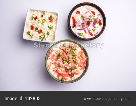 Raita of Onion, Carrot, Radish also known as Koshimbir