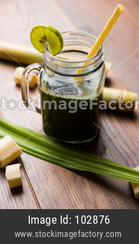 Sugarcane Juice OR Ganne Ka Ras in a glass or Jar