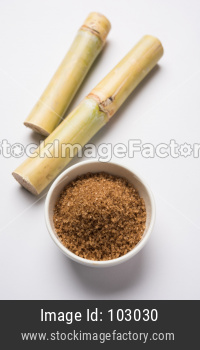 brown Sugar with cane, selective focus