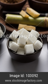 Indian Varieties of Sugar -  by-products of Sugarcane or Ganna served in a bowl. Selective focus