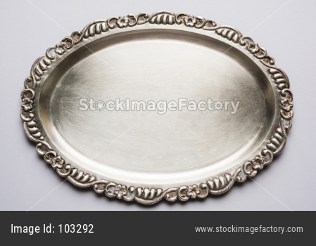 Empty Silverware or Oval Shape Silver Plate