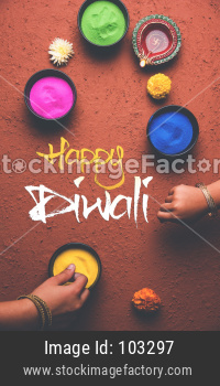 happy diwali rangoli and diya