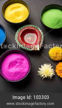 happy diwali rangoli and diya