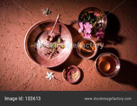 Sandhya Vandanam Kriya showing Copper utensils
