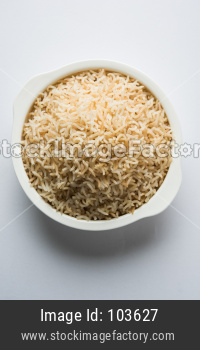 cooked brown basmati rice in a bowl