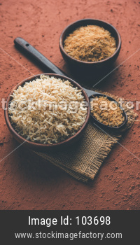 brown basmati rice raw and cooked