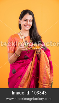 Indian lady with puja thali