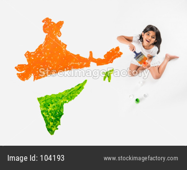 Cute Indian girl holding flag or tricolour