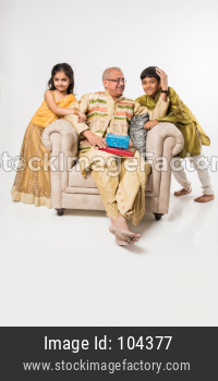 Indian kids and grandparents celebrating festival