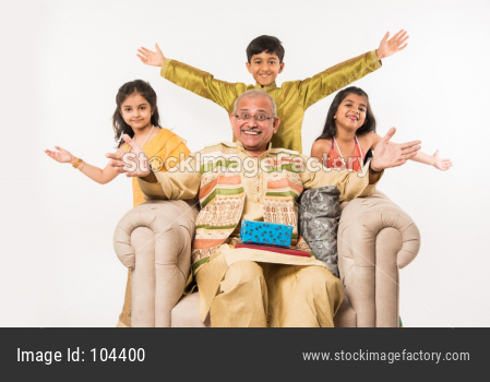 Indian kids and grandparents celebrating festival