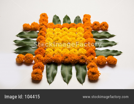 Flower Rangoli for Diwali or Pongal or Onam Festival