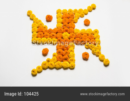 Swastika made using Marigold flowers for Diwali or Ponga