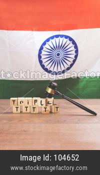 stock photo on triple talaq law in India - Triple talaq which is banned by supreme court of India. Concept showing gavel, indian