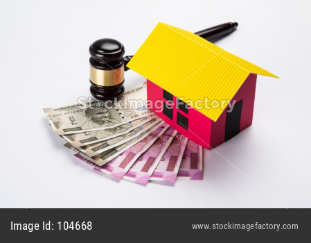 stock photo showing Indian low and jurisdiction - Indian national flag or tricolour with wooden gavel showing concept of law in