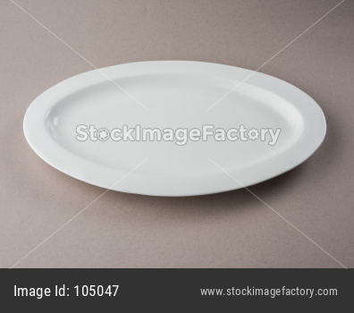 Empty white ceramic long plate