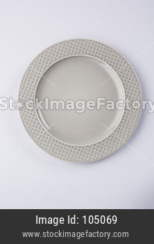 Empty grey ceramic round plate