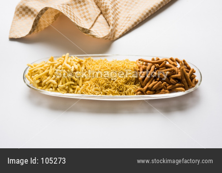 Aloo Sev Namkeen Food made up of mashed potatoes, chickpea flour and spices