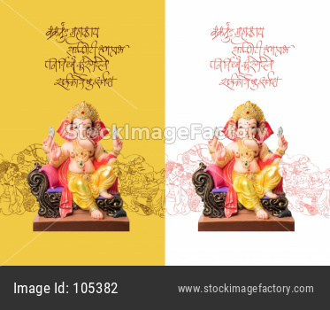 Happy Ganesh Chaturthi greeting card using photograph of Lord ganapati Idol