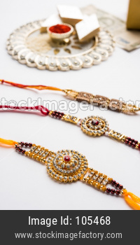 Rakhi or Wrist Band with Pooja Thali, Gifts, Sweets