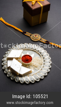 Rakhi or Wrist Band with Pooja Thali, Gifts, Sweets