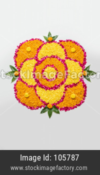 Flower Rangoli with Diya for diwali or Pongal