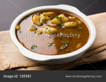 Spicy Indian potato curry or Aloo ki Rassa sabji