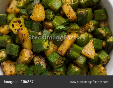 Indian Fried Bhindi Masala OR Okra also known as Ladyfinger curry