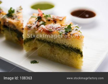 Yellow and white Sandwich Dhokla
