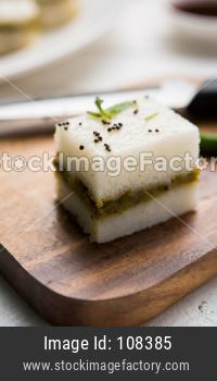 Yellow and white Sandwich Dhokla