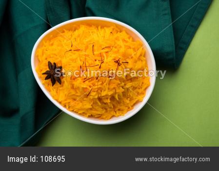 Saffron rice or Kesar chawal / bhat
